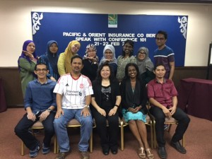 The happy students from Pacific & Orient Insurance Co, especially the ladies posing in this group photo with GTG trainers, Celine & Prema (seated in the front row)